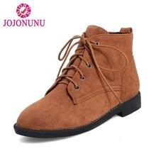 JOJONUNU женские ботильоны круглый носок на шнуровке Цвет полусапожки Зимняя классика повседневная обувь женская обувь размеры 33–40