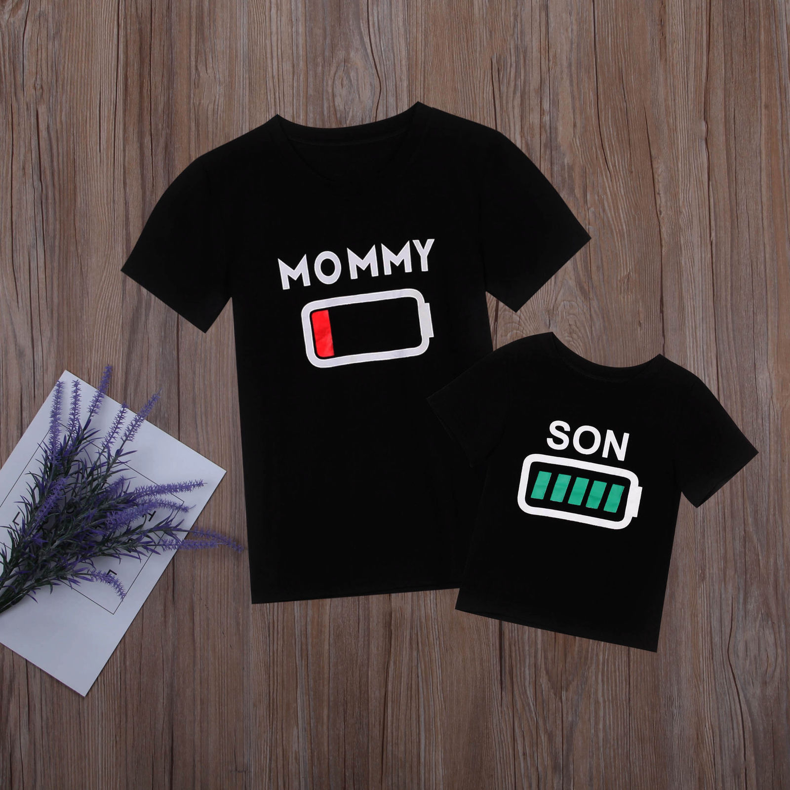 Matching Shirts Tees Outfit Graphic Baby-Boys Kids Mommy Son Women Casual Tops Battery-Print