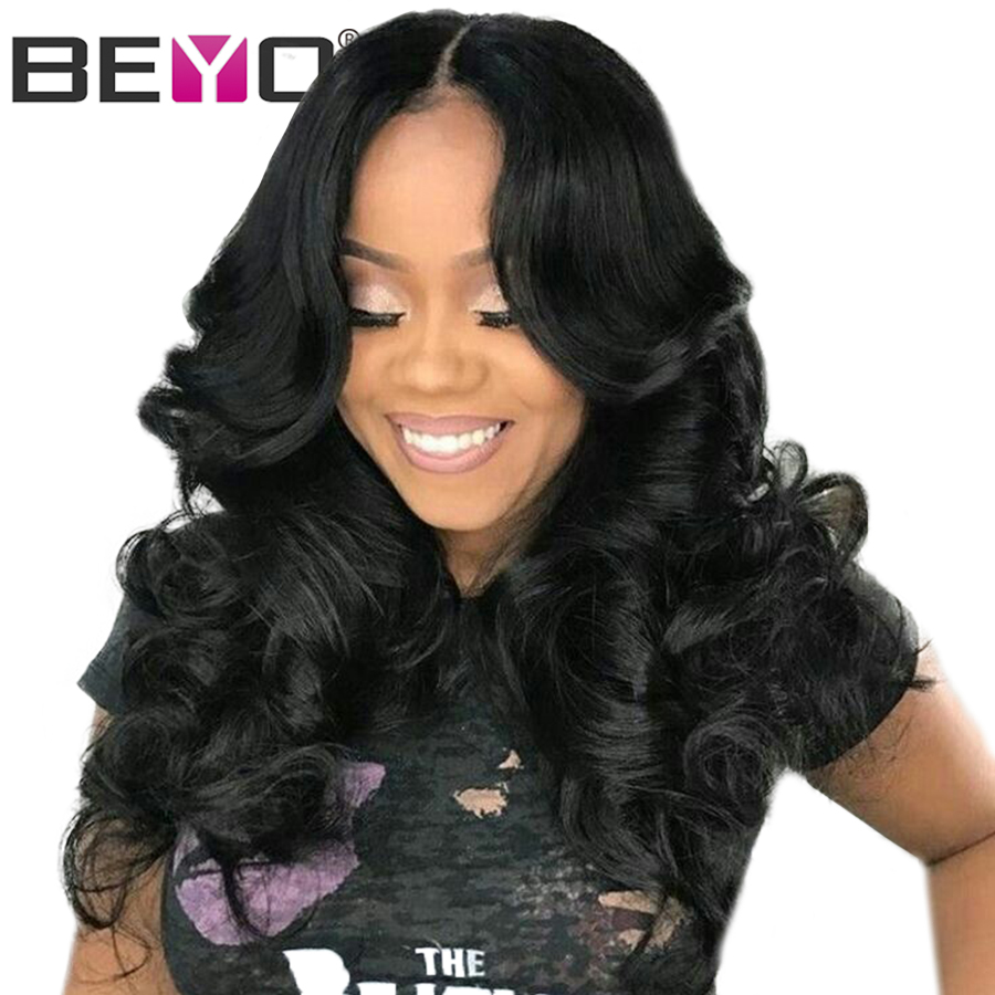 Beyo Pre Plucked Human Hair Wigs With Baby Hair Natural Hairline Peruvian Body Wave Full Lace