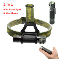 2in1 Mini Flashlight Headlamp LED XPL V5 1000lm 3 Mode Waterproof Headlight Camping Hunting Fish Head Lamp Torch Small Pen Light
