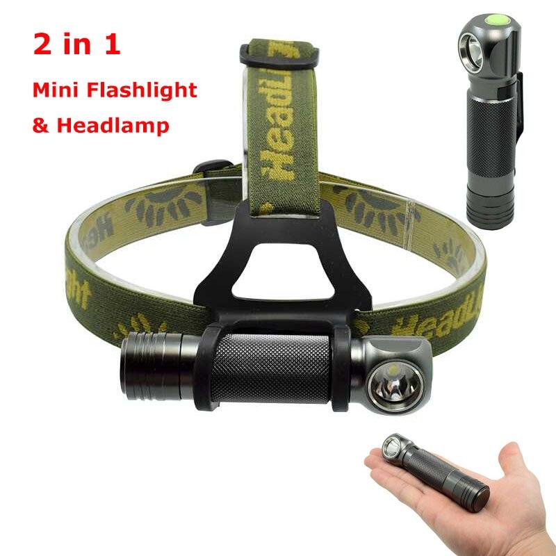 2in1 Mini Taschenlampe Scheinwerfer LED XPL V5 1000lm 3-Modus Wasserdichte Scheinwerfer Camping Jagd Fisch Kopf Lampe Taschenlampe Kleine stift Licht