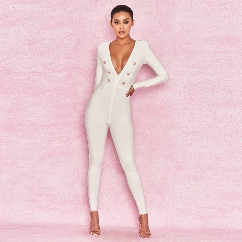 991a04dfbff Newest Fashion 2018 White Celebrity Deep V Neck Long SleeveSolid Button Sexy  Bandage Jumpsuit Bodycon Clubwear party Wholesale