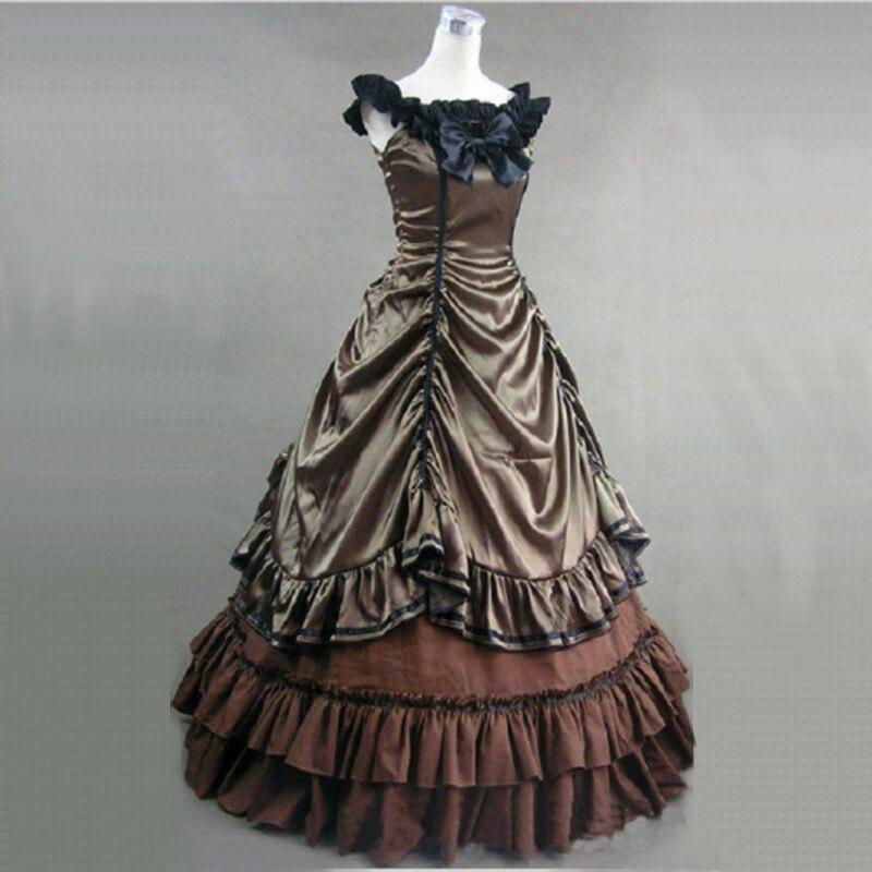 Personnalisé 2018 rouge Satin dentelle hors de l'épaule gothique victorien période robe Halloween classique scène robes de bal livraison directe