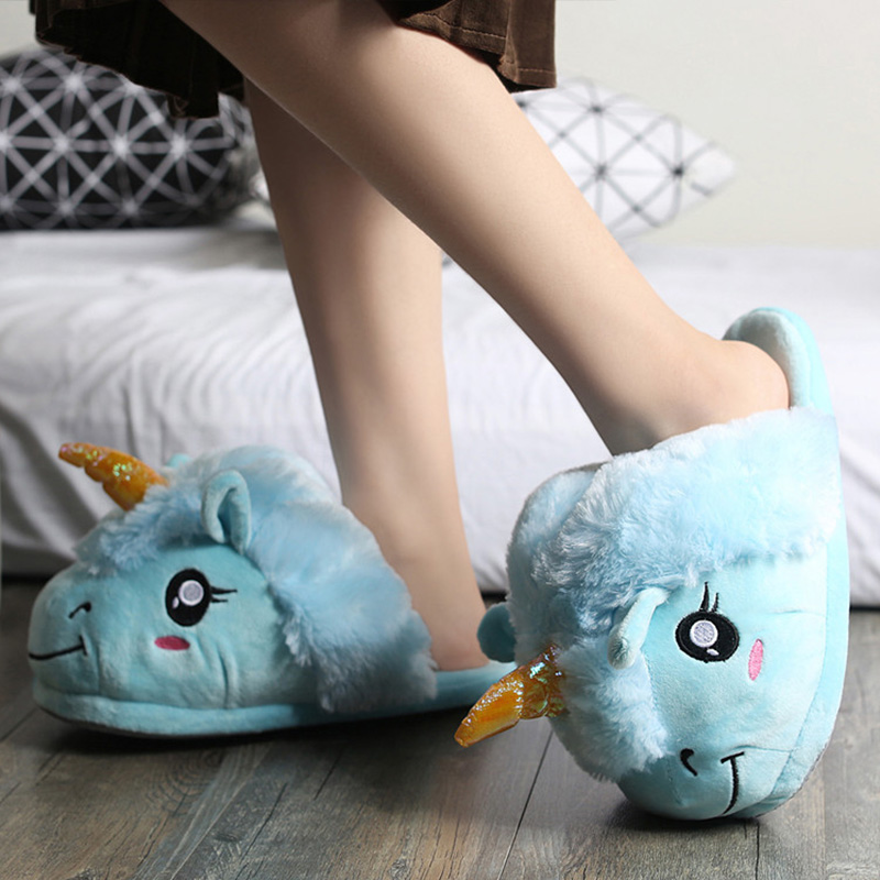 Winter shoes woman warm indoor slippers unicorn cloth slippers womens plush fashion sjoes flat with lovely fabric zapatos mujer embroider flock indoor slippers winter home furry fuzzy womens house with fur mules women bow plush flat shoes feathers s170
