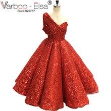 VARBOO_ELSA Một Vai Sexy Arabic Kaftan Dubai Red Gliter Bóng Gown Trang Phục Chính Thức Buổi Tối Prom Đảng Gown Ăn Mặc Thanh Lịch Dresses