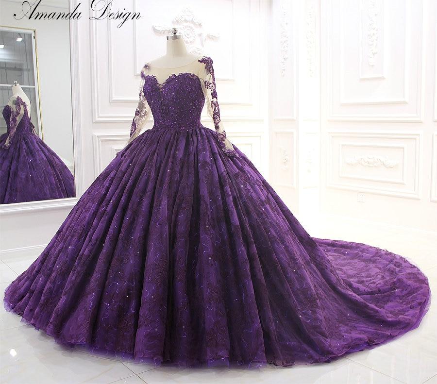 Amazing High-end Wedding Dress Purple Lace Wedding Dress Long Train Bridal Wedding Dress