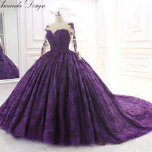 Amanda Chen Amazing high-end purple train wedding dress