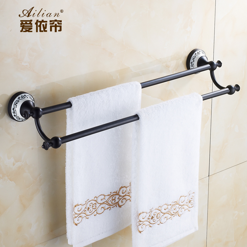 100% copper towel rack antique European retro double bar towel rack towel bar bronze and porcelain free shipping european luxury all copper and bronze towel ring towel hanging antique blue and white towel ring towel rack hanging round