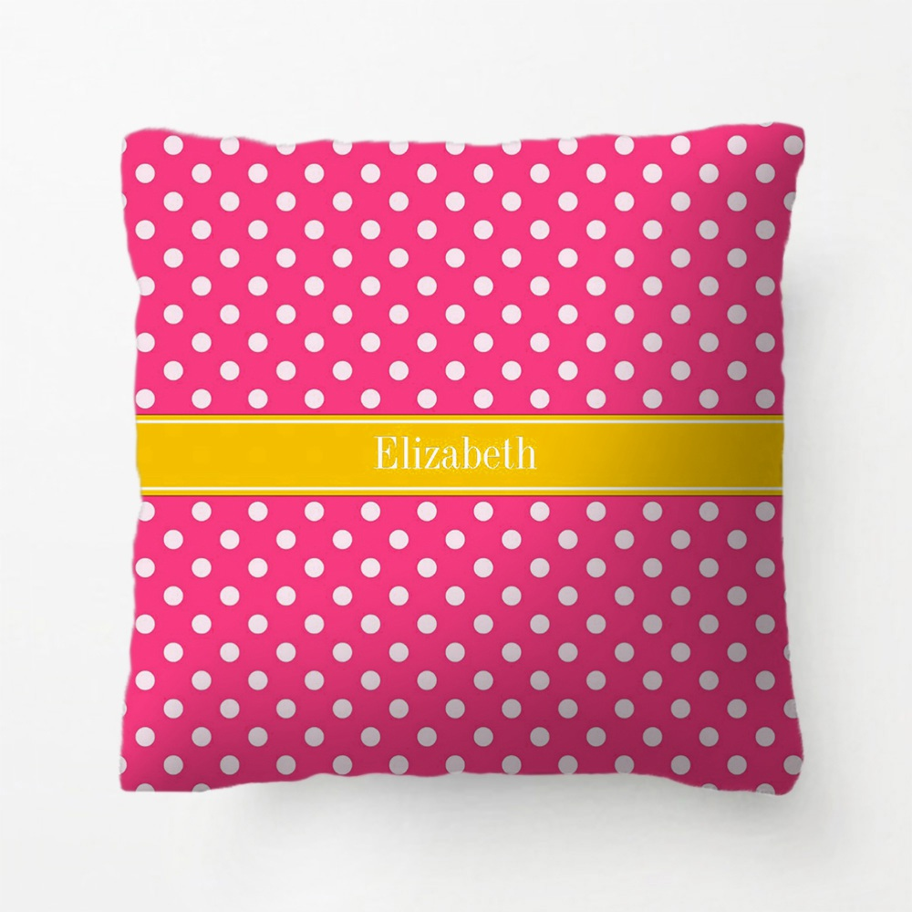 Surprising Us 5 69 Coral Red White Polka Dots Lime Green Name Monogram Throw Pillow Decorative Cushion Cover Pillow Case Customize Gift Pillowcase In Cushion Machost Co Dining Chair Design Ideas Machostcouk