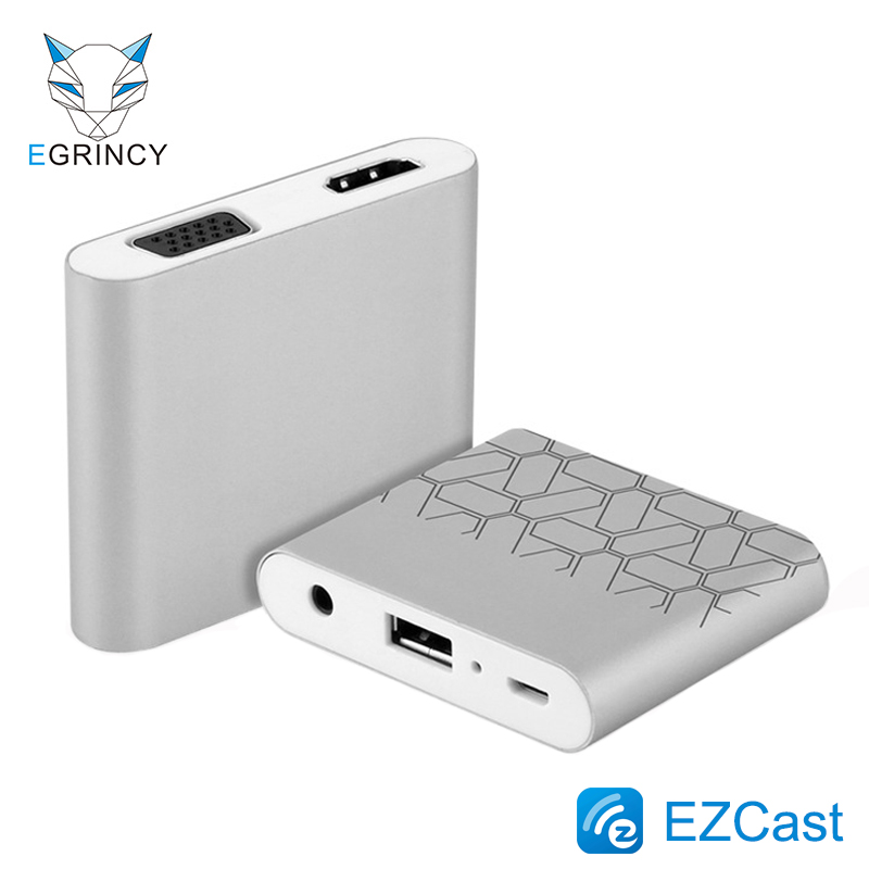 EGRINCY USB To HDMI VGA Video Converter 1080p Smart Phone To VGA HDMI Digital AV Multiport Adapter For iPhone iPad Android Phone