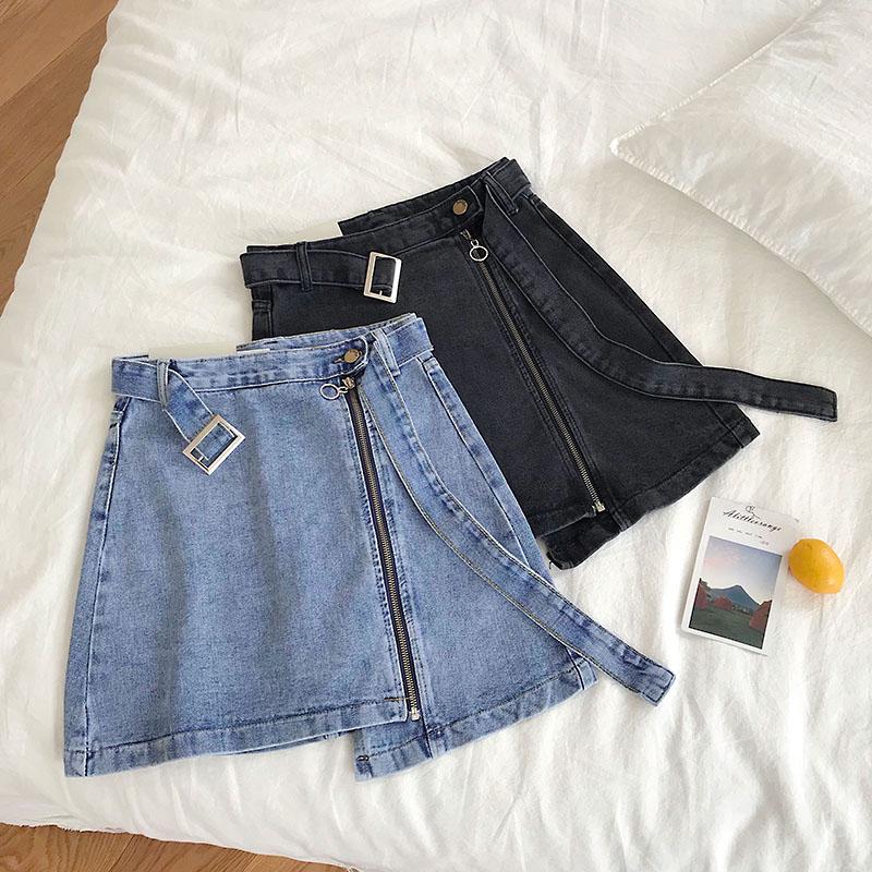 2019 Sexy Summer Lycra Short Skirts Korean Mini Denim Skirt Women's Short Jean Skirts Plus Size 5xl Women Clothing Belt