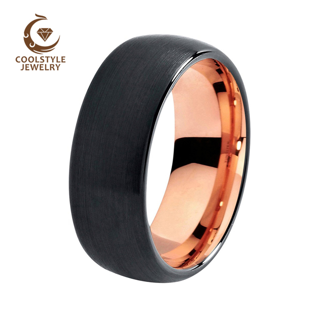 Mens Wedding Band Two Tone Black Rose Gold Color Tungsten Ring