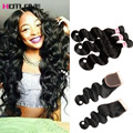 Mink Brazilian Virgin Hair With Closure 3 Bundles And Closure 8A Rosa Hair Products With Closure Natural Bodywave With Closure