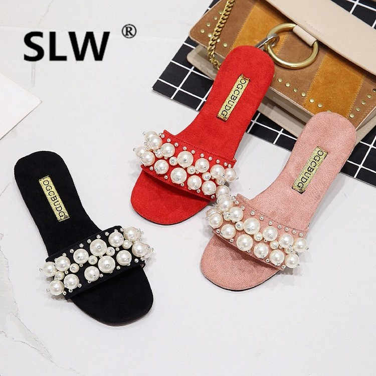 summer luxury big pearl flat open toe beach shoe woman cozy flock crystal slippers woman brand flip flops 2019 footwear hot