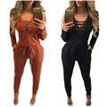 Europe and the United States women's new autumn and winter long sleeved Jumpsuit sexy slim bandage Jumpsuit nightclub