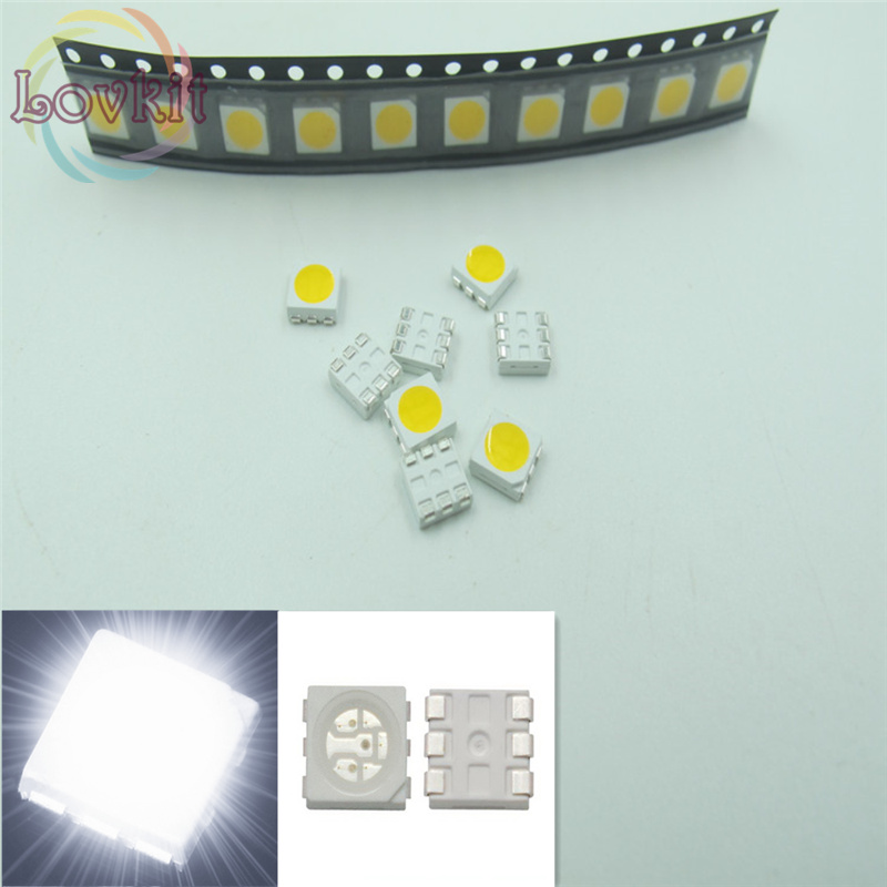 Bike Diy 100 Pcs 5050 Rgb Smd Led Red Blue Green Smt Led Plcc-6 3-chips Light Emitting Diodes Lamp Bead For Car Boat