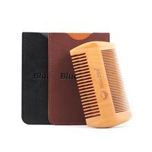 Blue Zoo Men Antistatic Portable Double Side Natural Pearwood Comb Beard Massage