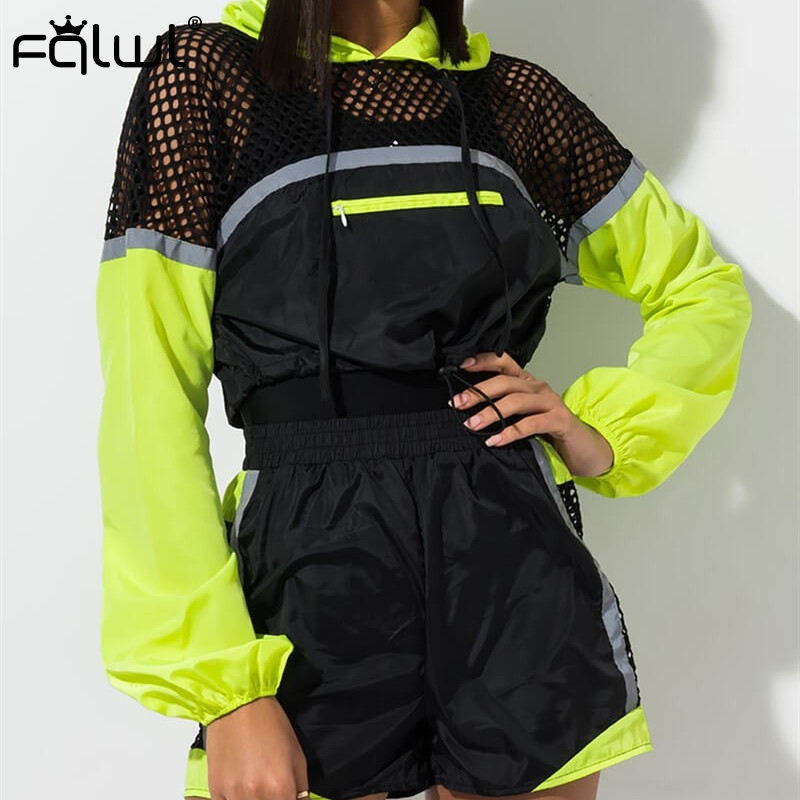 FQLWL Hollow Out 2 Piece Set Tracksuit Women Outfits Long Sleeve Hooded Crop Top And Shorts Biker Streetwear Summer Matching Set