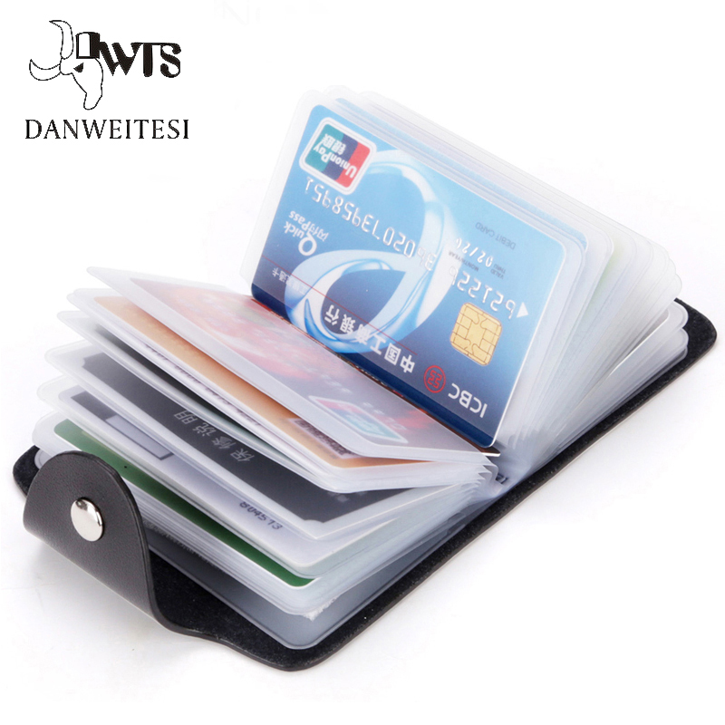 DWTS PU Leather Function Card Holder 24 Bits Business Card Case Men Women Credit Passport Card Bag ID Passport Card Holder xiniu 1pcs men s women leather credit card holder case card holder wallet business card package for 24 card pu leather bag a0708
