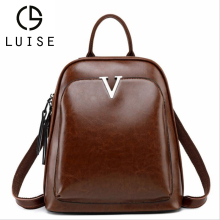 LUISE Brand 2019 New Genuine Leather Retro Backpack Female Brown Shoulder Bag Simple Oil Wax Leisure Travel