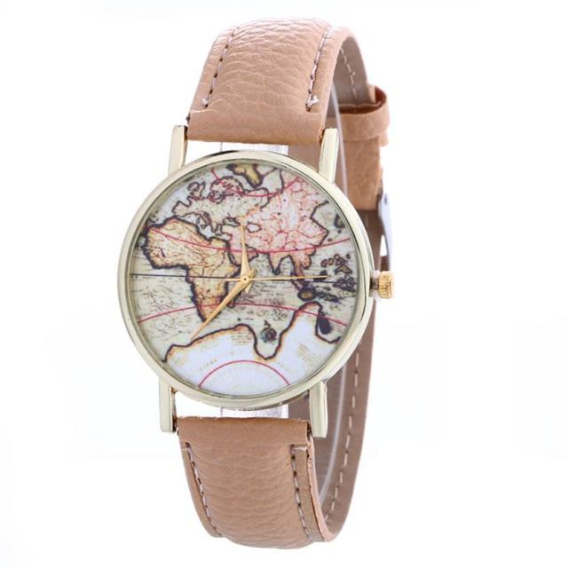 Quartz Wristwatches Women's Watches Creative Map Pattern Reloj Mujer Leather Str