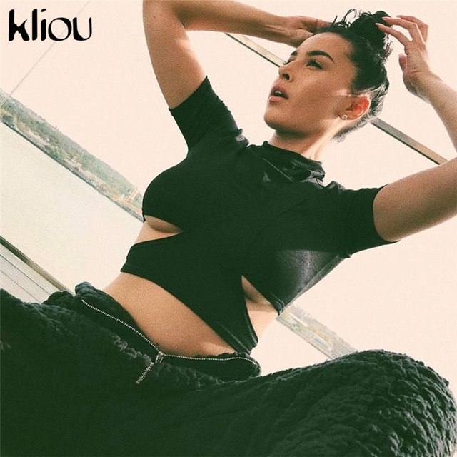 Kliou 2018 New Sexy Solid Black White O-Neck Short Sleeve T-Shirt Tees Tops Women Strip Hollow Out Short Casual Tees Crop Tops