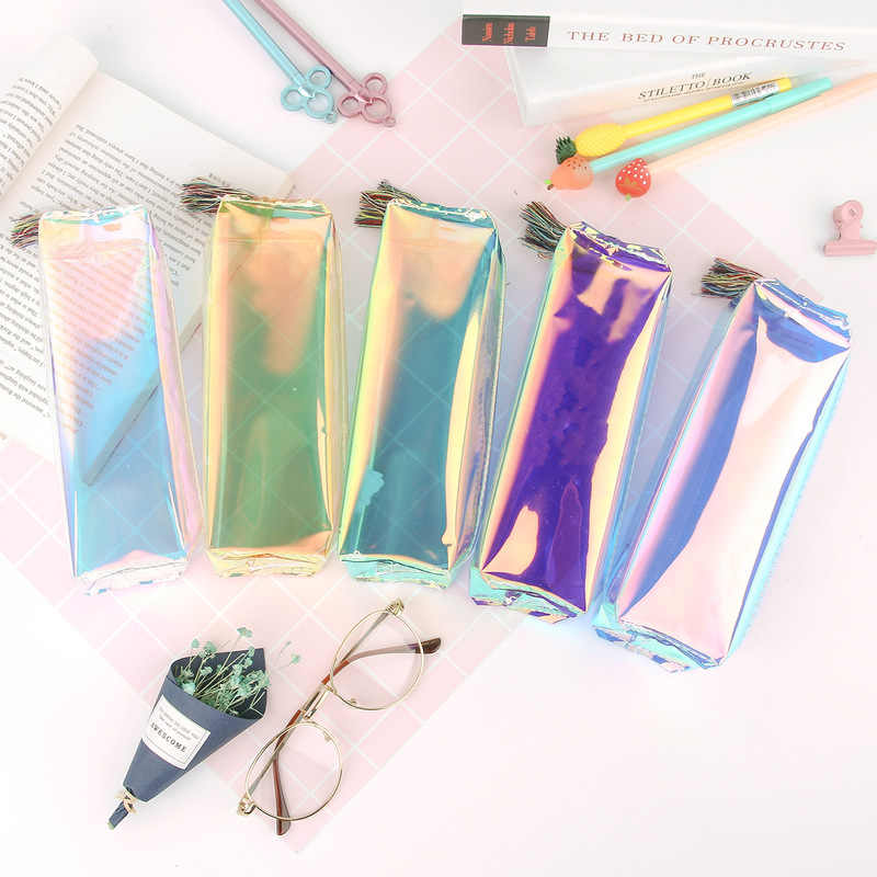 Transparent Glitter Pencil Case Stationery Bags Creative Fashion Pvc Pencil Bag School Pencil Box Supplies Student Gift Kawaii