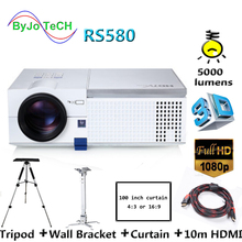где купить ByJoTeCH RS580 LED projector 1080P home theater Proyector With Tripod 10m HDMI Curtain Wall Bracket Double speakers по лучшей цене