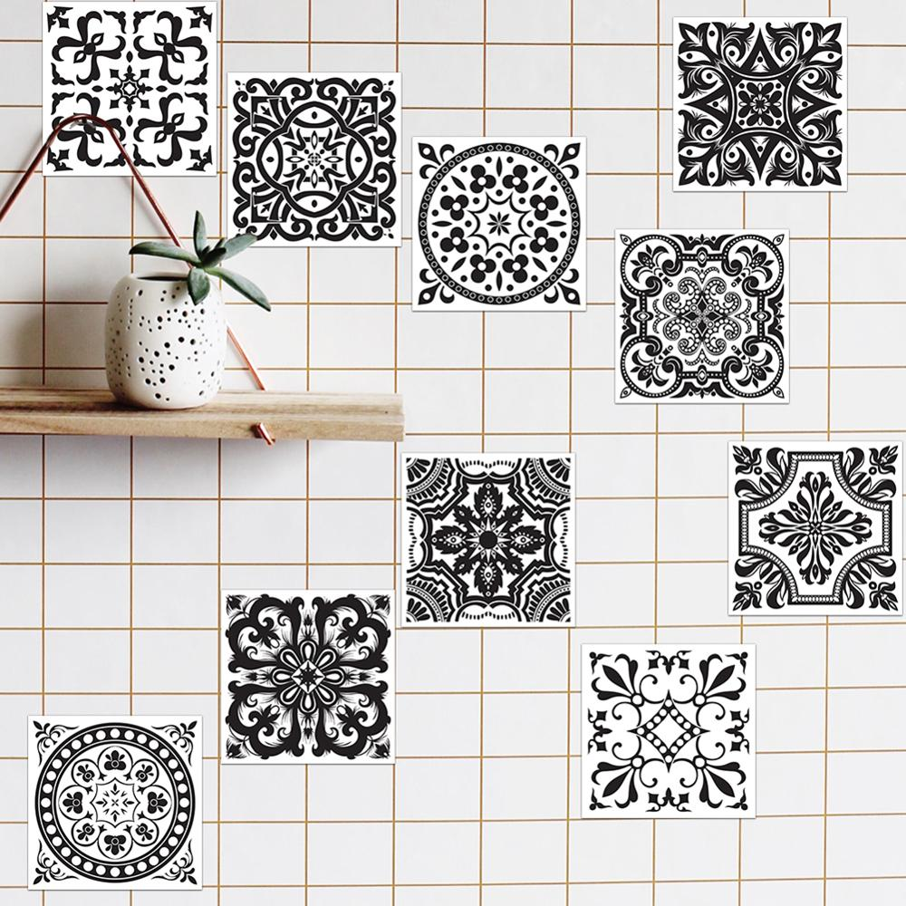 Black and white retro tile tiles stickers pvc bathroom for Black and white bathroom wall decor