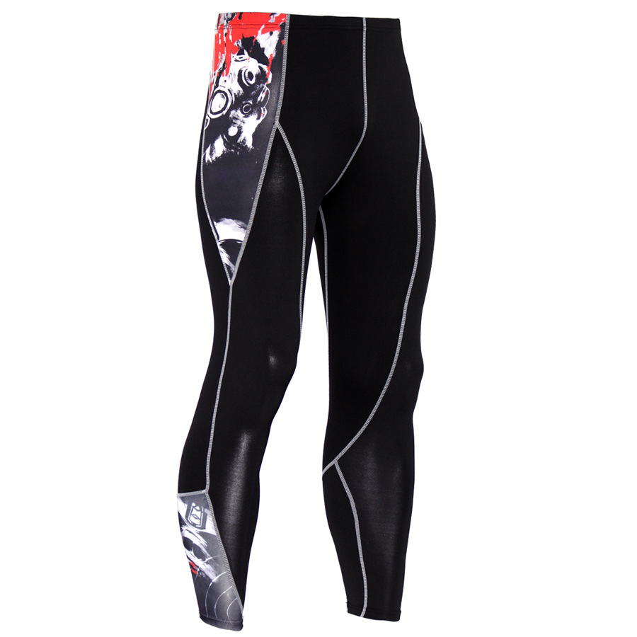 2017 fitness stretch pants men breathable quick-drying compression pants rashguard mma Free delivery