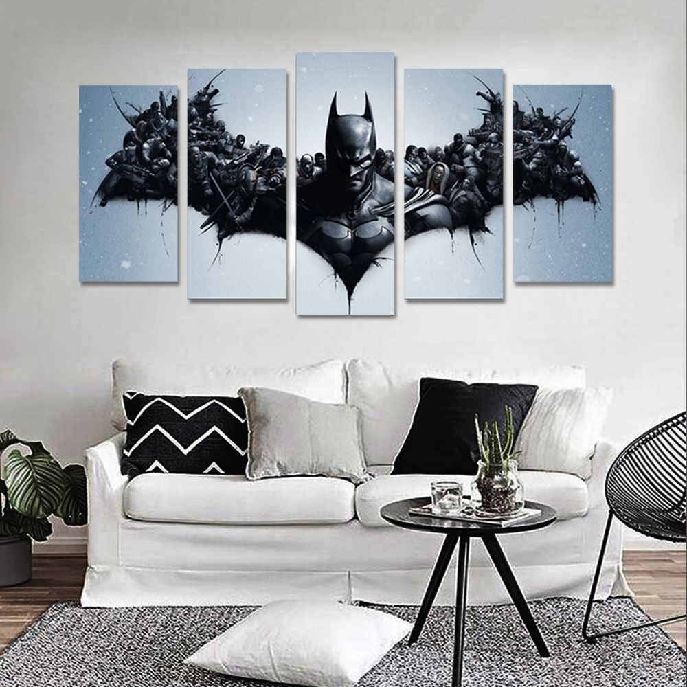 Unframed 5 HD Canvas Prints Batman Giclee Wall Decor For Living Room Decoration Mural Module Art Spray Painting Dropshipping