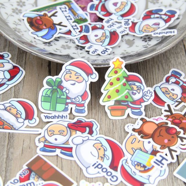 9f9afeb9efb4 40 pcs Self-made Papai Noel Feliz Natal Scrapbooking Adesivos Decalques  Diário Deco Adesivo Decorativo