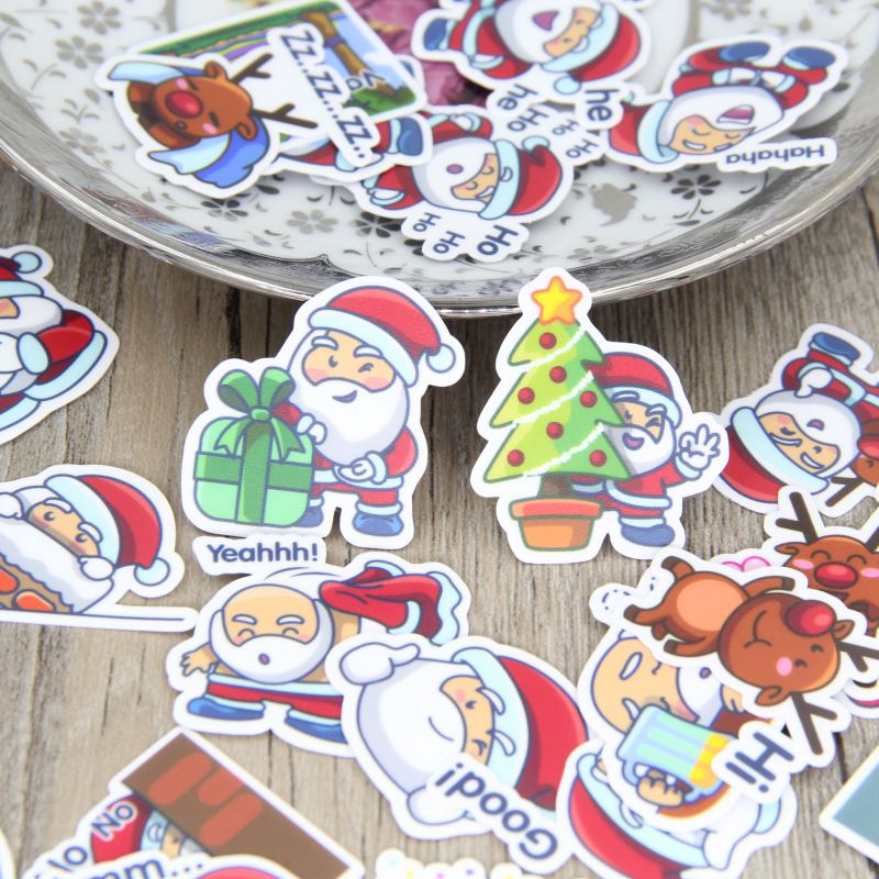 40pcs Self-made Santa Claus Merry Christmas Scrapbooking Stickers Decorative Sticker DIY Craft Photo Albums Decals Diary Deco 50 pcs bag santa claus christmas stickers paper sticker decoration diy scrapbooking sticker children s favorite stationery