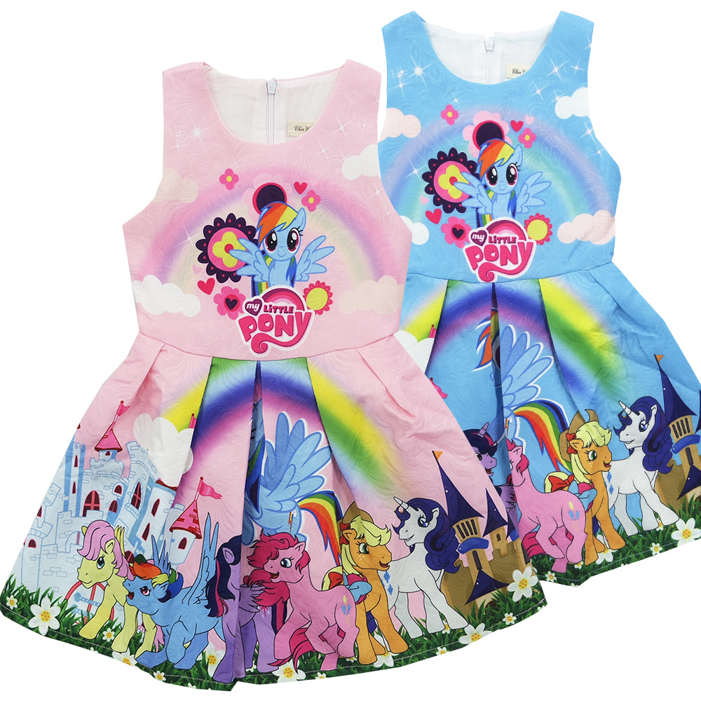 2-8 Yrs Summer Spring Baby Girl Child Print Princess Dress Girl Lined Cartoon Pony Dresses Kids Pink Blue Jacquard Fabric Cloth fashion jacquard spring and autumn long sleeved lace print dress princess party baby girl dresses girl clothes 3 7 yrs