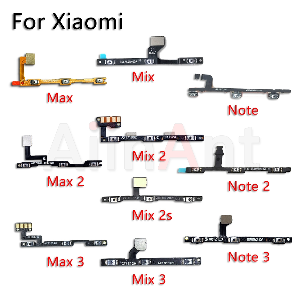 AiinAnt Volume On Off Button Power Flex Cable For Xiaomi Mi Note Max Mix 1 2 2s 3 Pro A2 A1 Lite Power Flex