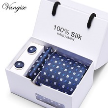 Drop shipping Men`s Tie 100% Silk Blue Plaid print Jacquard Woven Tie+Hanky+Cufflinks Sets For Formal Wedding Business Party
