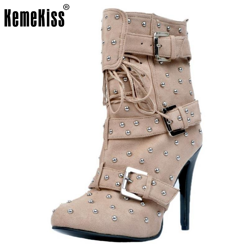 Women Pointed Toe Ankle Boots Woman Lace Up High Heel Shoes Ladies Fashion Rivets Buckle Style Spring Autumn Botas Size 34-47 pointed toe high heel ankle women boots oxfords with lace