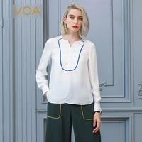 Voa шёлковый жаккардовые белая футболка осенний пуловер с длинными рукавами базовая Повседневное футболка женские офисные Топы Элегантные