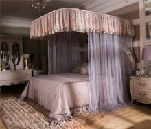 Luxury Pink Gray U type Palace Style Guide Rail Three Open Door Mosquito Net Stainless Steel Frame 1.8m 1.5m 2m bed