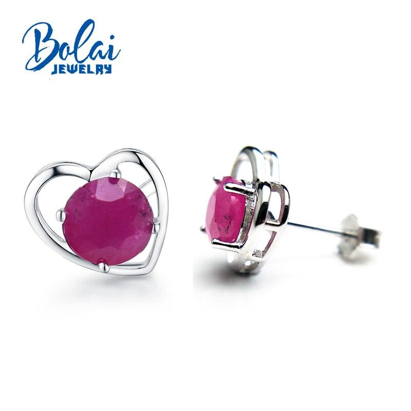 Bolaibijoux, Noble élégant 925 boucle d'oreille en argent avec rubis pierre gemme boucles d'oreilles en forme de pierre gemme pour les femmes cadeau romantique pour fille