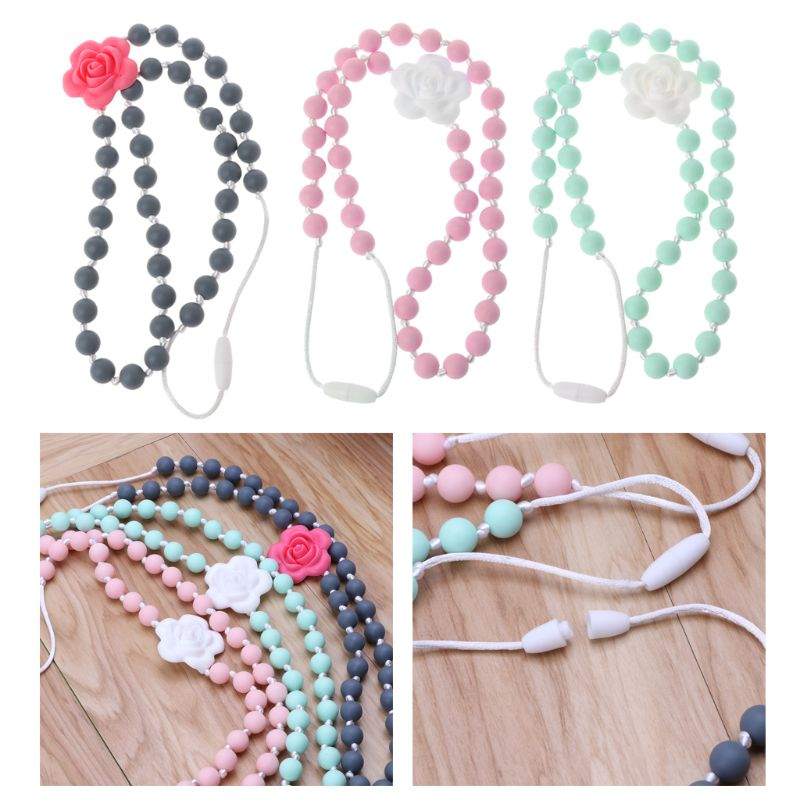 Pacifiers Leashes & Cases Feeding Baby Teething Toy Silicone Training Baby Teethers Necklace Rose Flower Pendant Necklace Chewing Toy Gifts Beads Pacifier Clip Fine Quality