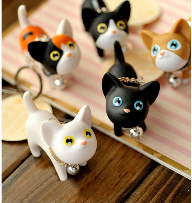 50PCS Multicolor Cute Cute Cat Keychain Animal Dolls Key Chain Baubles Pendant Shake Head Bell for kids Creative Jewelry Gift - 3