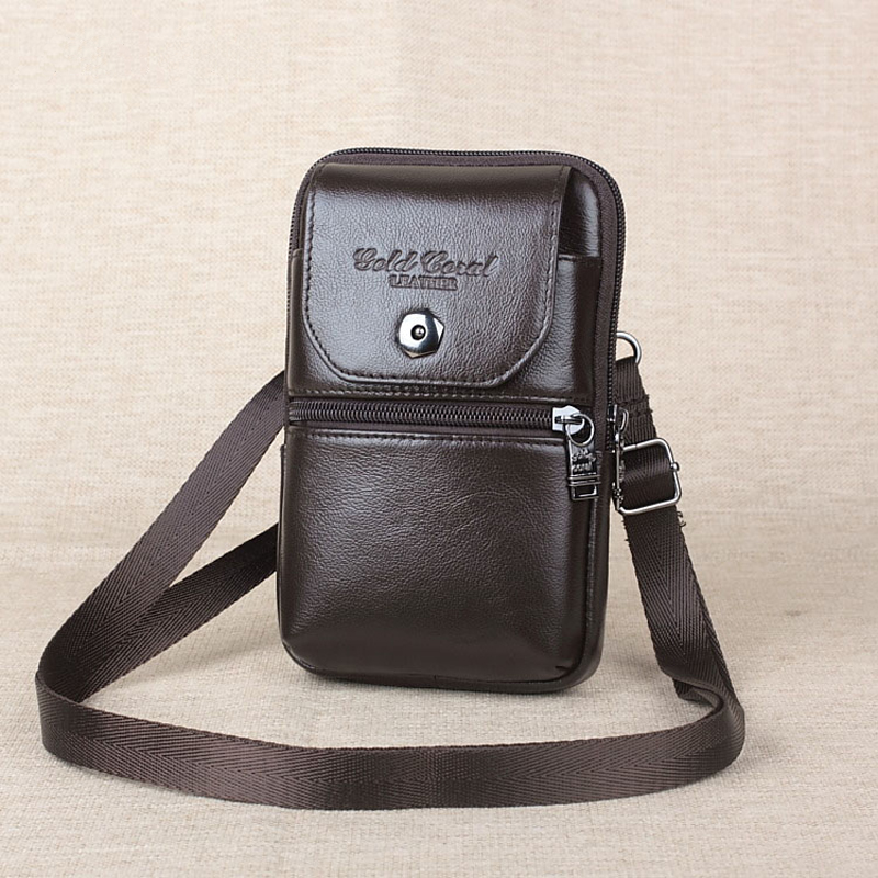 GOLD CORAL Waist Belt Bag Men Genuine Leather Fashion Phone Pouch Hip Fanny Pack Purse Travel Waist Pack Messenger Shoulder Bags цена