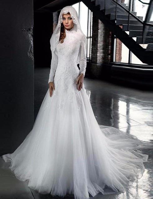 Elegante Bruidsjurken.Elegante Bruidsjurken 2016 Hoge Hals Een Lijn Lange Mouw Bruiden