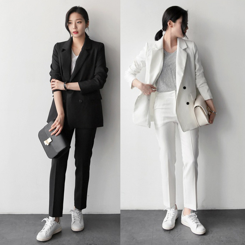 Trousers And Jacket For Women Suits Set 2 Pieces 2019 High Quality White Striped Suit Jacket Female Pants Suit Office Work Suit