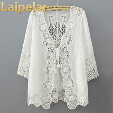 Hollow Out White Lace Blouse Kimono Summer 2018 Casual Loose Woman Shirt Fashion Half Sleeve Kimono Cardigan Blouses Women Tops embroidered hollow out batwing kimono