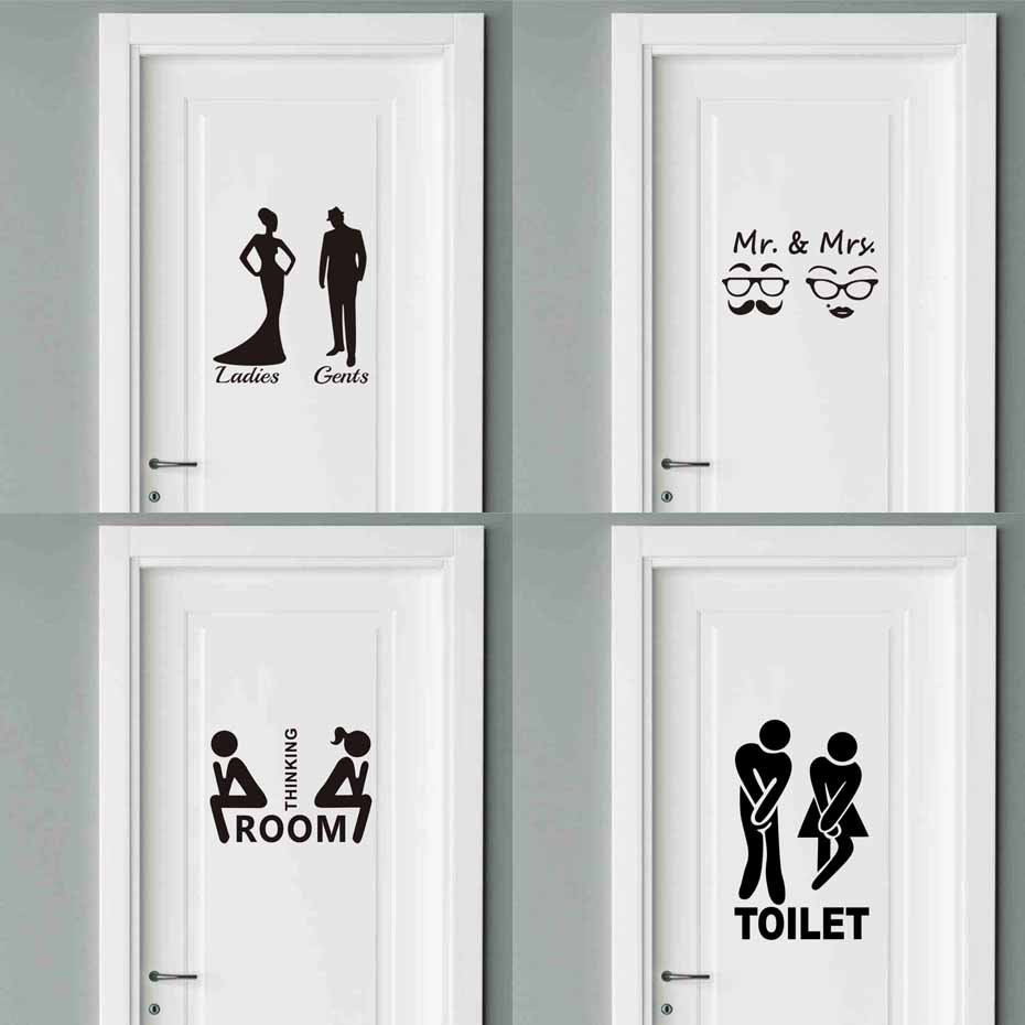 Man Woman Toilet Stickers Vinyl Interesting Wall Decals