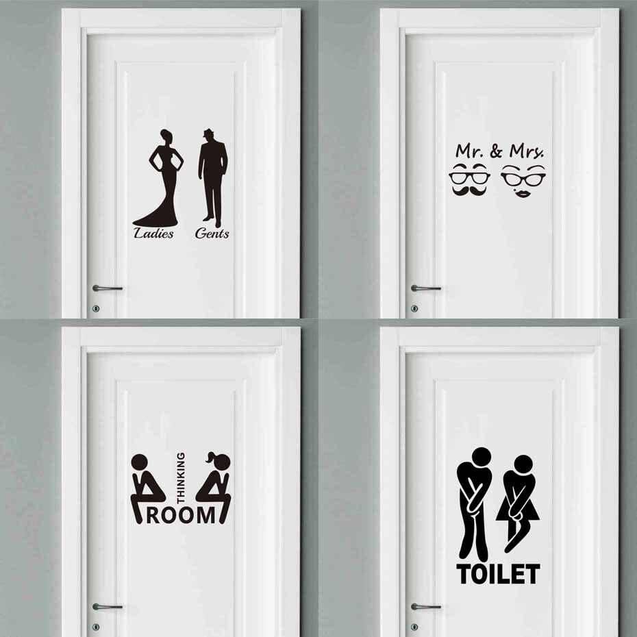 Man Woman Toilet Stickers Vinyl Interesting Wall Decals Waterproof Art Mural DIY WC Deca ...