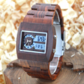 BEWELL Wood Watch Men Analog Quartz Watch Rectangle Wooden Wristwatch Dial Relogio LED Digital Watch Montre Homme With Box 021A