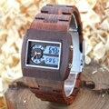Bewell relógio de madeira dos homens analógico relógio de quartzo retângulo relógio montre homme relogio mostrador digital led de madeira relógio de pulso com caixa 021a